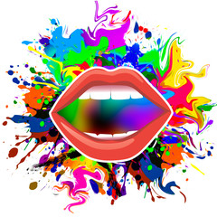 illustration of a colorful lips