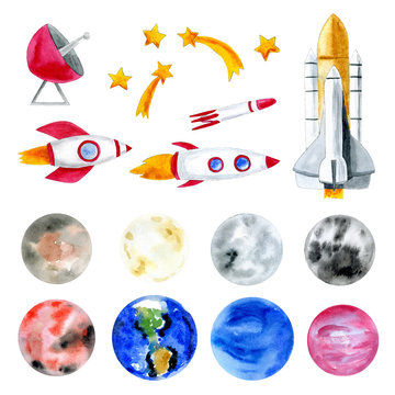 Watercolor illustration of planets, rockets and space objects