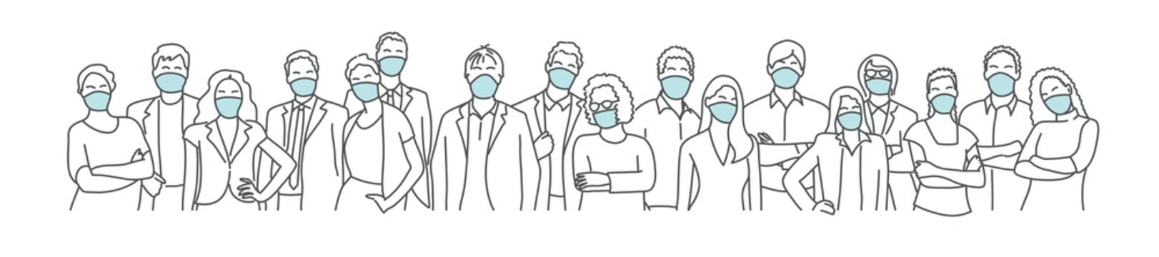Group of people wearing medical masks to prevent disease, flu, air pollution, contaminated air. Coronavirus. Hand drawn vector illustration.
