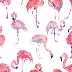 Canvas Prints Watercolor seamless pattern of flamingo, for wedding cards, romantic prints, fabrics, textiles and scrapbooking.