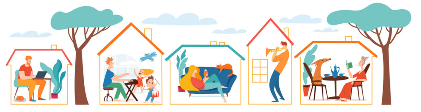 Stay at home vector quarantine illustration with different people and family spend time together