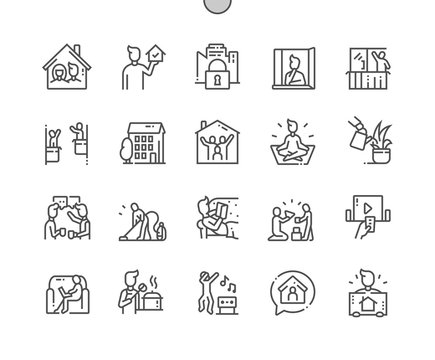 Stay at home Well-crafted Pixel Perfect Vector Thin Line Icons 30 2x Grid for Web Graphics and Apps. Simple Minimal Pictogram