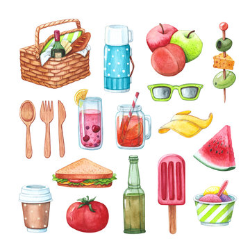 picnic set with food, drinks and cuttlery