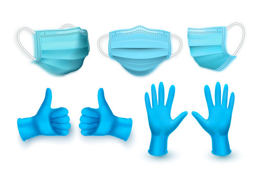 Realistic blue medical face mask and medical latex gloves. Vector illustration