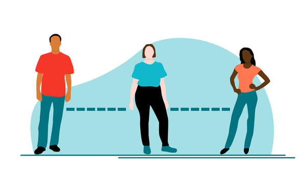 A brown man, a white plus sized woman and a black woman standing 6 feet apart to symbolize social distancing to fight coronavirus or covid-19. Diverse vector is a flat design with teal blob background