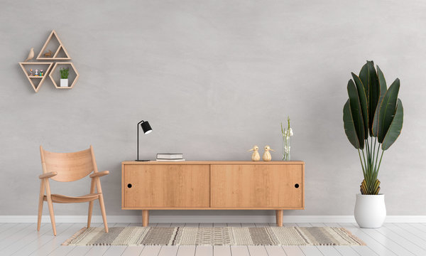 Sideboard and chair in living room for mockup, 3D rendering