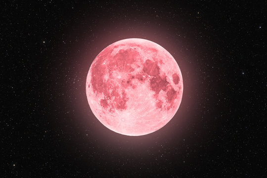 Pink full super moon glowing with pink halo surrounded by stars on black sky background