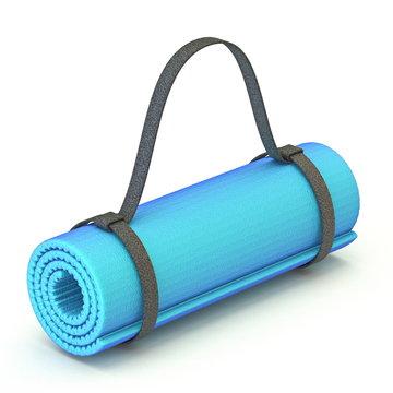 Blue yoga gym floor mat 3D