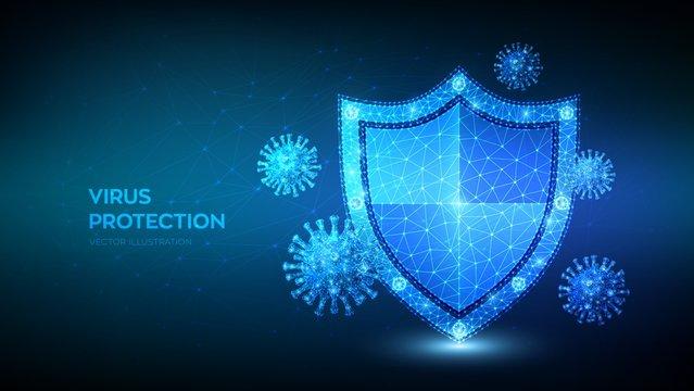 Virus protection. Low polygonal shield and Covid-19 virus cells. Coronavirus 2019-nCoV safety concept. Microbiology and medicine. Antibiotic, vaccination against coronavirus. Vector illustration.