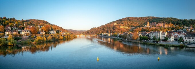 Panoramic view of Heidelberg with castle along the Neckar river, Baden-Württemberg, Germany Fotobehang