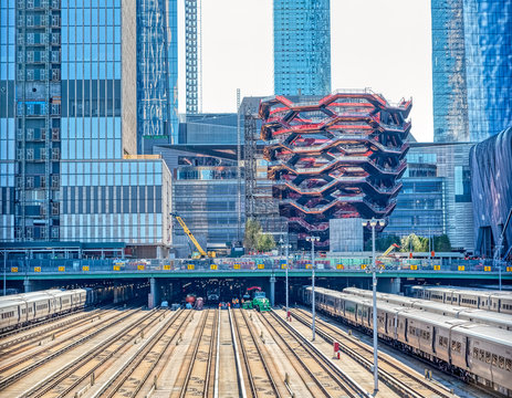 NEW YORK, USA - OCTOBER 01, 2018: Vessel is a structure and visitor attraction built as part of the Hudson Yards Redevelopment Project in Manhattan