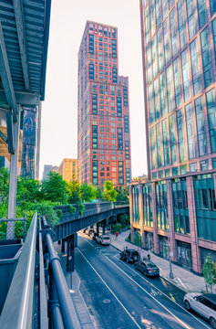 NEW YORK, USA - OCTOBER 01, 2018: The High Line a elevated linear park, greenway and rail trail created on a former New York Central Railroad spur in Manhattan. Bridge on the 30th street.
