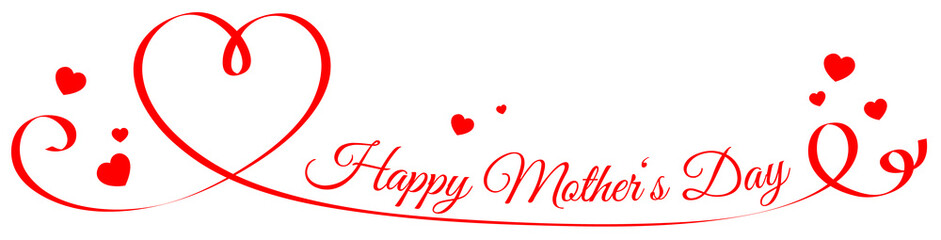 Happy mother's day ribbon with red hearts banner isolated Wall mural