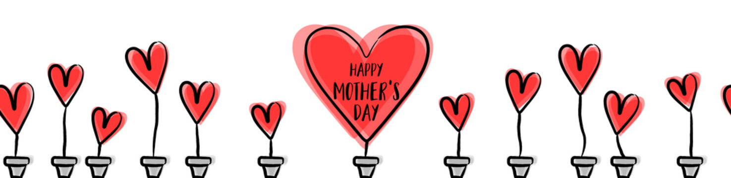 Happy mothers day seamless pattern with red hearts background isolated