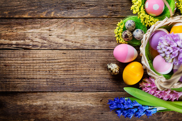 Easter decorations on wooden table Wall mural