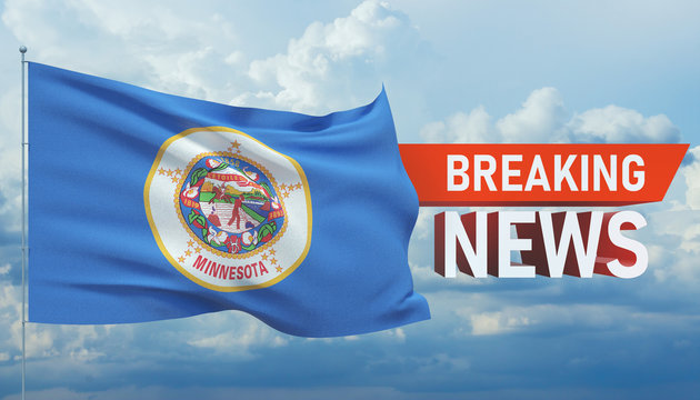 Breaking news. World news with background waving flag of the states of USA. State of Minnesota flag. Pandemic 3D illustration.