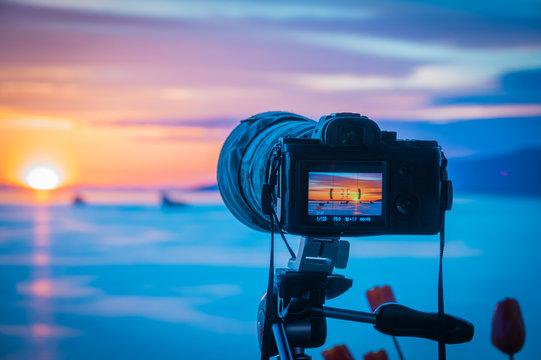 camera making  sunset video