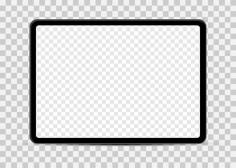 Simple tablet mockup with blank checkered transparent screen. Fototapete