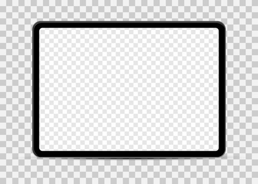 Simple tablet mockup with blank checkered transparent screen.