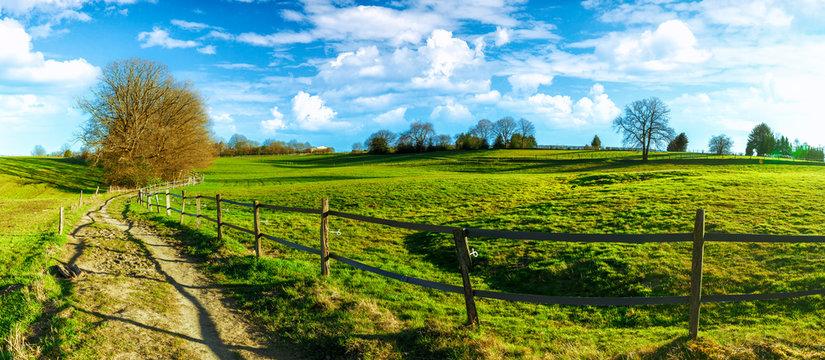 Beautiful spring landscape on German fields in North Rhine Westphalia between Wuppertal and Remscheid