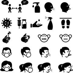 Pandemic Social Distancing Icons - Black Series