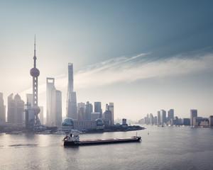 Fototapete - shanghai skyline and huangpu river