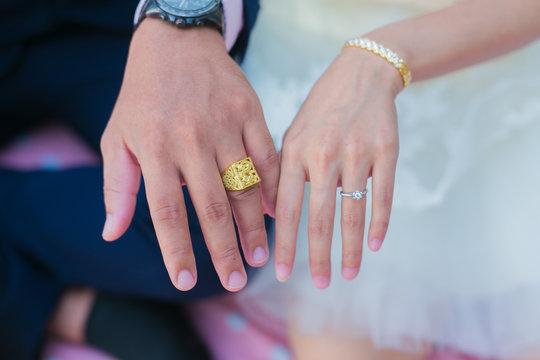 Cropped Image Of Bride And Bridegroom Wearing Wedding Rings