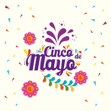 Mexican flowers and confetti design