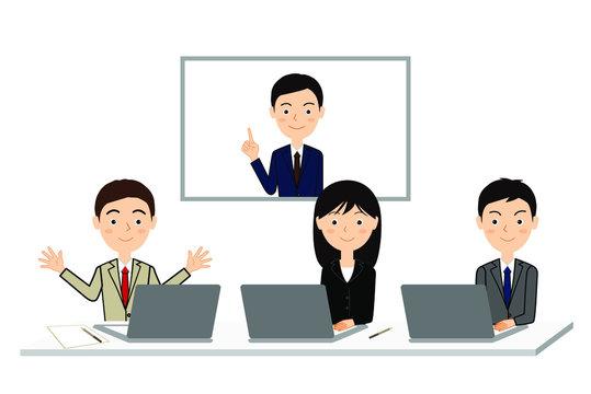 テレビ会議をする人たちのビジネスイラスト