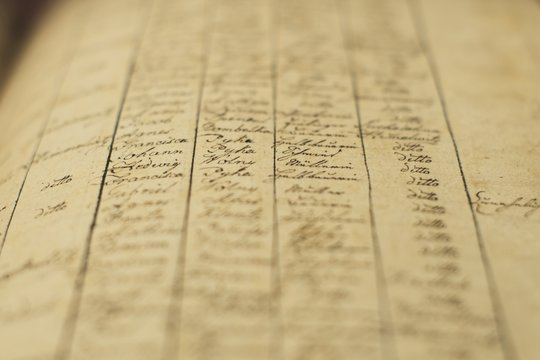 Soft focus of an old book of local records with list of residents' names and information