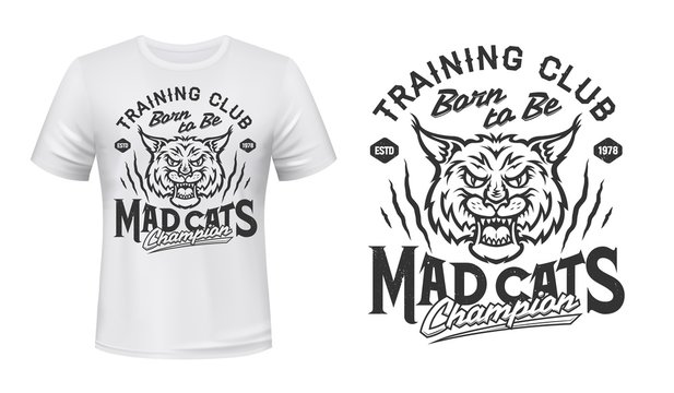 Bobcat animal head mascot vector design of sport club t-shirt print. Lynx wild cat roaring with open mouth, scratch marks and lettering, angry carnivore wildcat mascot of sporting custom apparel