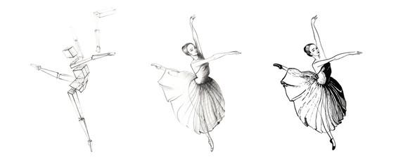 Studies of drawing of dancing ballerina