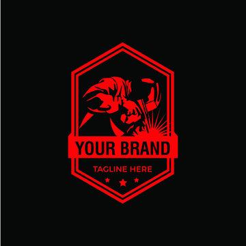 Welding logo company badge logo design, vintage triangle