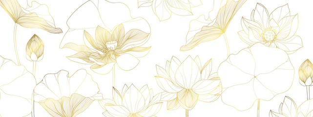 luxury lotus wallpaper design vector, lotus line arts, Golden Lotus flowers patterns design for packaging background, print, packaging, natural cosmetics, health care, invitation, cards. Fototapete
