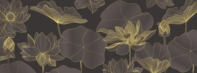 luxury lotus wallpaper design vector, lotus line arts, Golden Lotus flowers patterns design for packaging background, print, packaging, natural cosmetics, health care, invitation, cards.
