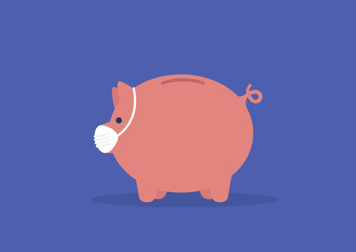 Business protection during the coronavirus outbreak. Piggy bank pig wearing a face mask