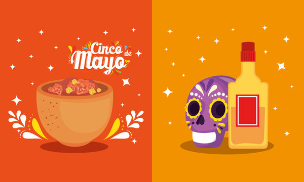 Mexican skull tequila bottle and bowl design, Cinco de mayo mexico culture tourism landmark latin and party theme Vector illustration