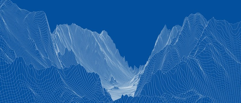Abstract 3d wire-frame landscape. Blueprint style