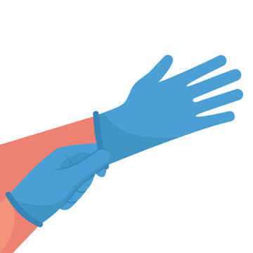 Putting on gloves. Protective latex blue gloves. Symbol of protection against viruses and bacteria. Precaution icon. Vector illustration flat design. Isolated on white background.