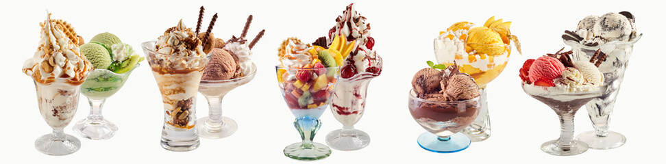 Various ice-cream sundaes with white copy space