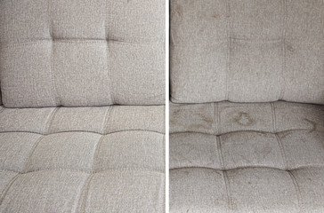 Obraz clean and dirty sofa before and after, Cleaning service clean sofa with professional equipment - fototapety do salonu