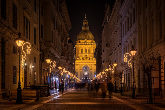 Christmas Fair in Budapest. From Advent to New Year the square in front of the Basilica