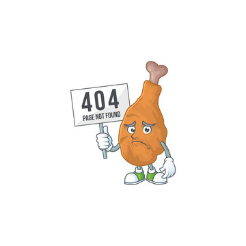 Sad face of fried chicken cartoon character raised up 404 boards