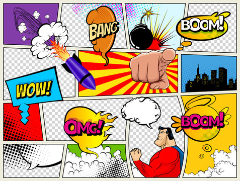 Grunge Retro Comic Speech Bubbles. Background with radial halftone effects and rays in pop-art style. Abstract Talking Clouds and Sounds