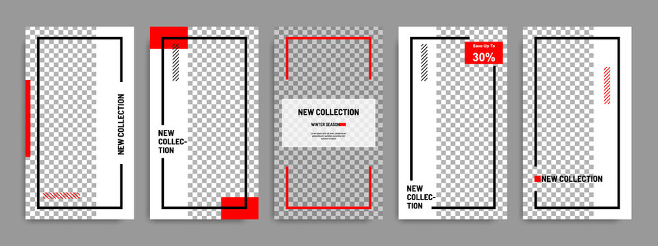 Minimal social media stories / story template layout banner in white red background color