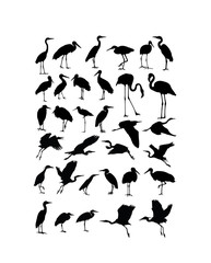 Heron, Egret  and Stork Bird Silhouettes, art vector design