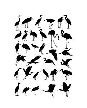 Heron, Egret  and Stork Bird Silhouettes, art vector design