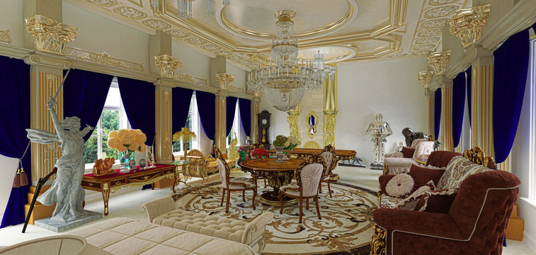Luxuriously decorated rococo style room, living room, Byzantine gold and sculptures, 3d rendering, 3d illustration