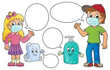 Photo sur Aluminium Enfants Virus prevention theme set 2