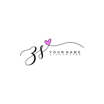 Letter ZS Simple and Clean illustration Logo initial Signature with heart